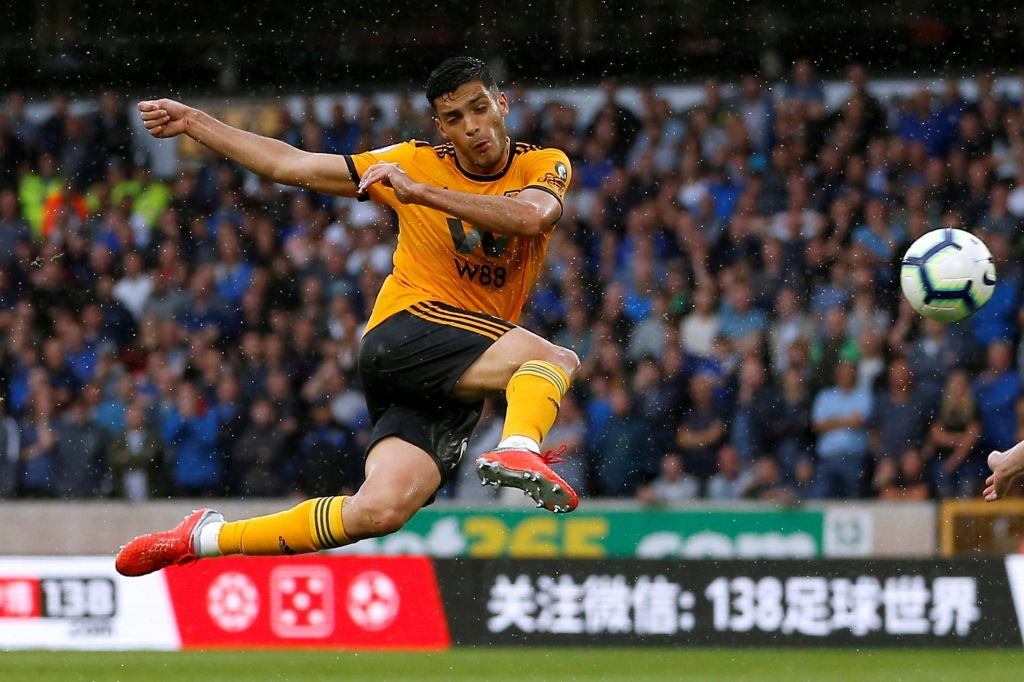 On loan striker Raul Jimenez non-stop his Wolves comment with a idea opposite Everton on a opening day of a season. Reuters