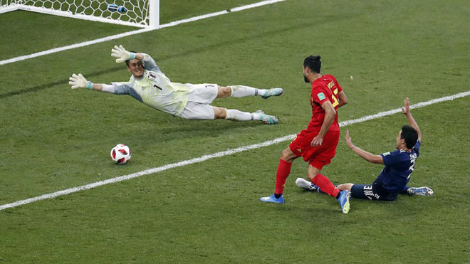 Chadli of Belgium scores a 3-2 during a compare between Belgium and