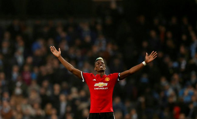 Manchester United's Paul Pogba celebrates after a match